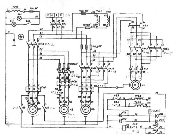 Электросхема на станок специализированный фрезерный консольный ВМ127М.