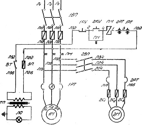 1624М Электросхема токарного