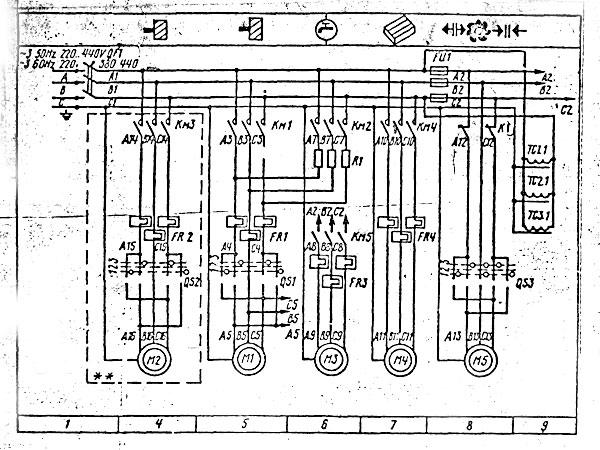 Электросхема 6Т12 на фрезерный