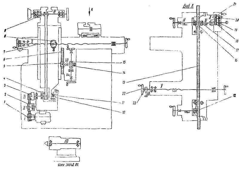 Кинематическая схема 3А64Д